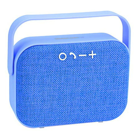 Cute Wireless Bluetooth Portable Speaker w/Fabric Grill Best Stereo, Mounts via Included Carabiner Loud Great Bass Treble for iPhone Ipad iPod Android Samsung Galaxy Google Nexus Huawei