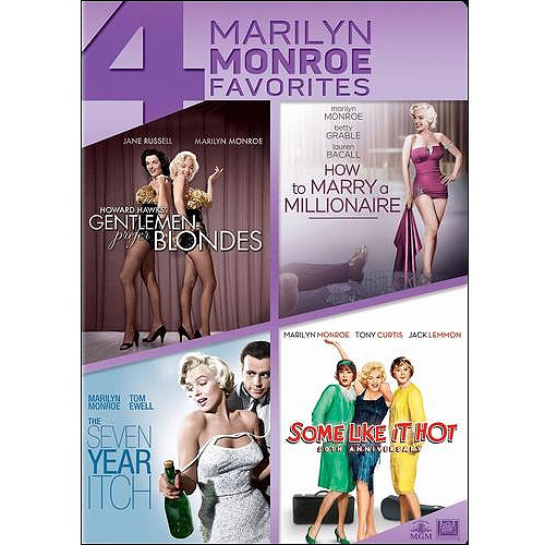 4 Marilyn Monroe Favorites: Gentlemen Prefer Blondes / The Seve Year Itch / How To Marry A Millionare / Some Like It Hot