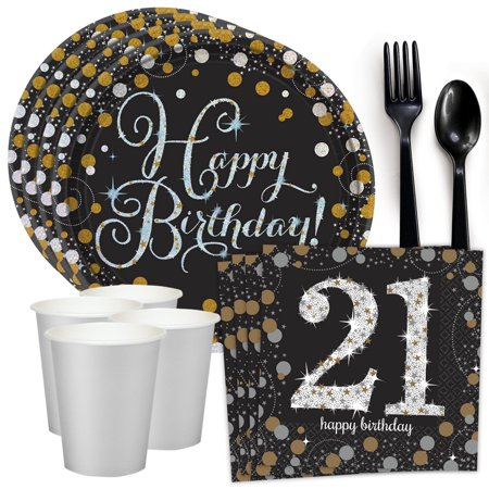 Sparkling Celebration 21st Birthday Standard Tableware Kit (Serves