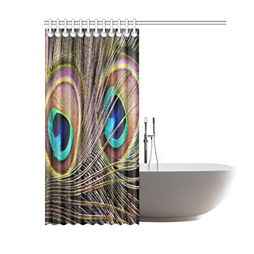 GCKG Beautiful Peacock Feather Home Decor Polyester Fabric Shower Curtain Bathroom Sets with Hooks 60x72 Inches - image 1 de 3