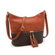 POPPY Tassel Zipper Bucket Crossbody Bag Medium Hobo Shoulder Purse Lightweight Women's Handbags