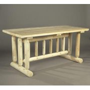 """68"""" Natural Cedar Log-Style Outdoor Wooden Park Style Picnic Table"""