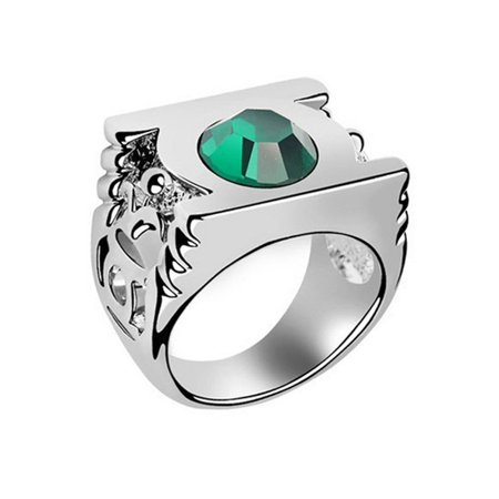 Dark Angel Cosplay (Green Lantern Crystal Power Ring Metal Silver Costume Cosplay Movie Logo)