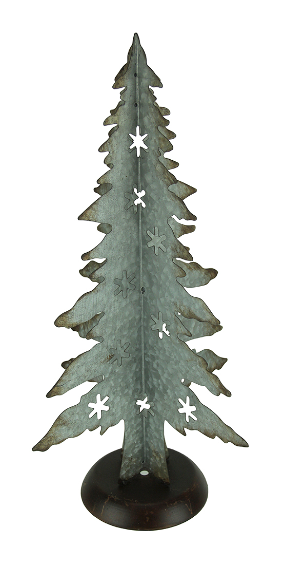 Rustic Galvanized Metal Cutout Christmas Tree 21 Inch Tall