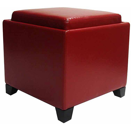 Contemporary Storage Ottoman with Tray, Multiple Colors