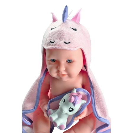 JC Toys La Newborn with Hooded Unicorn Towel - Realistic 17