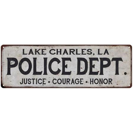 LAKE CHARLES, LA POLICE DEPT. Home Decor Metal Sign Gift 6x18 206180012438 ()