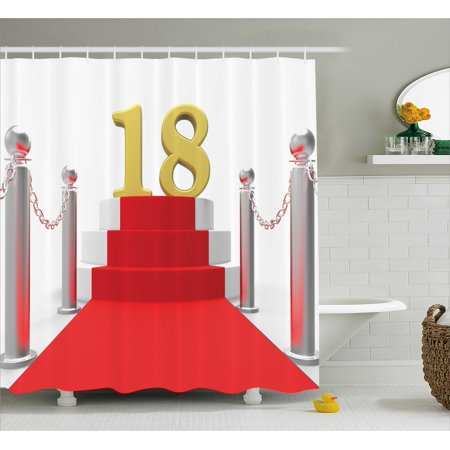 18th Birthday Decoration Shower Curtain, Hollywood Greeting for a 18 Year Old Star Party Image, Fabric Bathroom Set with Hooks, 69W X 84L Inches Extra Long, Red Silver and White, by Ambesonne