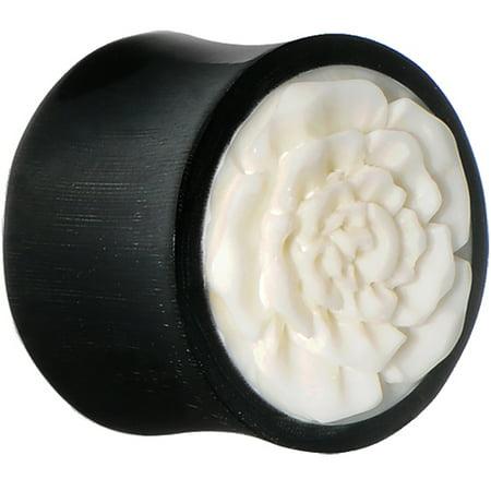 24mm Hand Carved Bone Flower Horn Saddle Plug (1 Piece)
