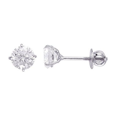 14kt White Gold Plated Round Crystal Screw back Studs