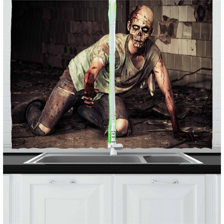 Zombie Curtains 2 Panels Set, Halloween Scary Dead Man in the Old Building with Bloody Head Nightmare Theme, Window Drapes for Living Room Bedroom, 55W X 39L Inches, Grey Mint Peach, by Ambesonne
