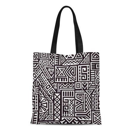 ASHLEIGH Canvas Tote Bag Polynesian Unique Geometric Made in Ethnic Aztec Site Durable Reusable Shopping Shoulder Grocery