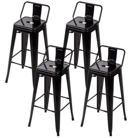 - 30'' Metal Frame Tolix Style Bar Stools Industrial Chair with Back, Set of 4