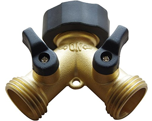 Brass Garden Hose Splitter 2 Way Y Hose Connector Made from Solid Piece of Brass by Red Earth Naturals
