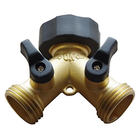 Brass Garden Hose Splitter - 2 Way Y Hose Connector Made from Solid Piece of (Best Hose Splitter With Comforts)