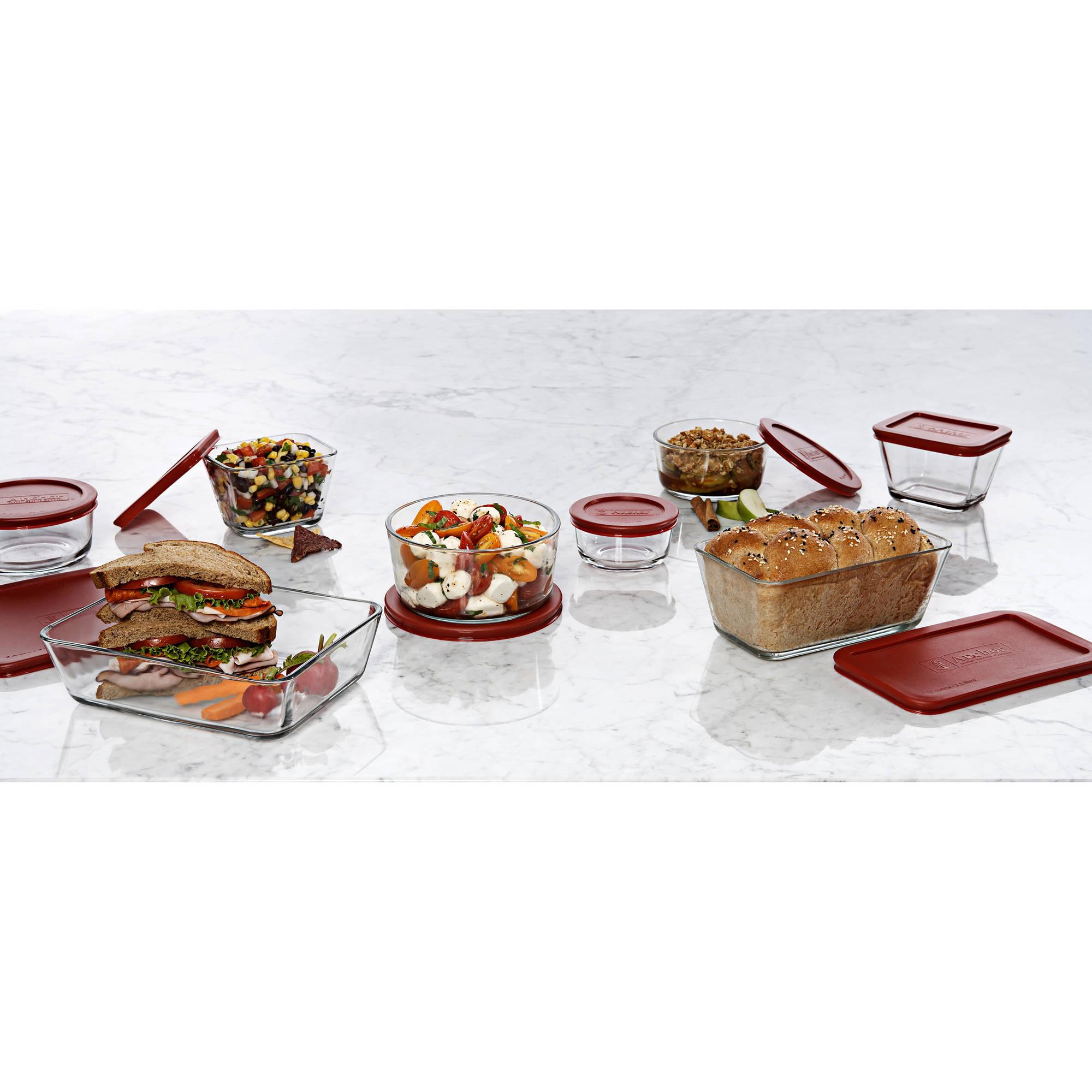 anchor hocking 16 piece kitchen food storage set with red lids