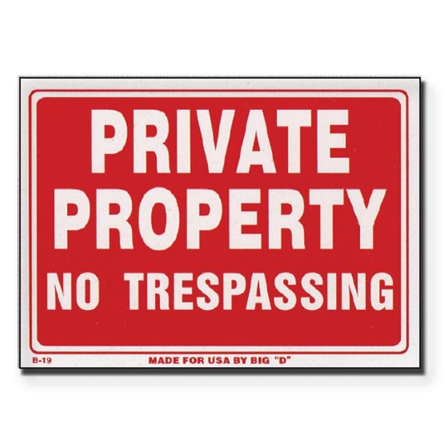 Bazic Products S-19-24 9 inch x 12 inch Private Property No Trespassing Sign - Box of 24