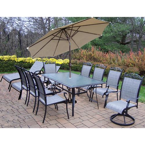 Oakland Living Corporation 14 Pc Set, 6 Chairs, 2 Swivels, 2 lounges, End Table, Umbrella, Stand
