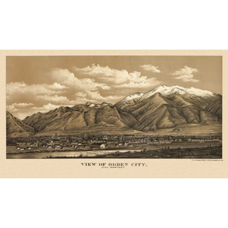 Antique Map of Ogden City Utah 1889 Weber County Stretched Canvas -  (18 x 24)