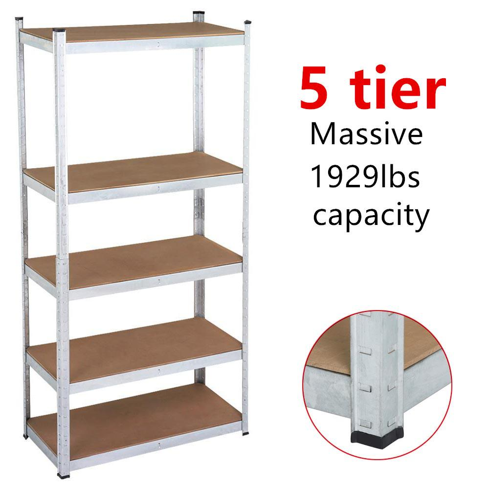 Yaheetech 71'' 5 Level Shelf Shelving Unit,Heavy Duty Metal Adjustable Garage Storage Shelf Silver