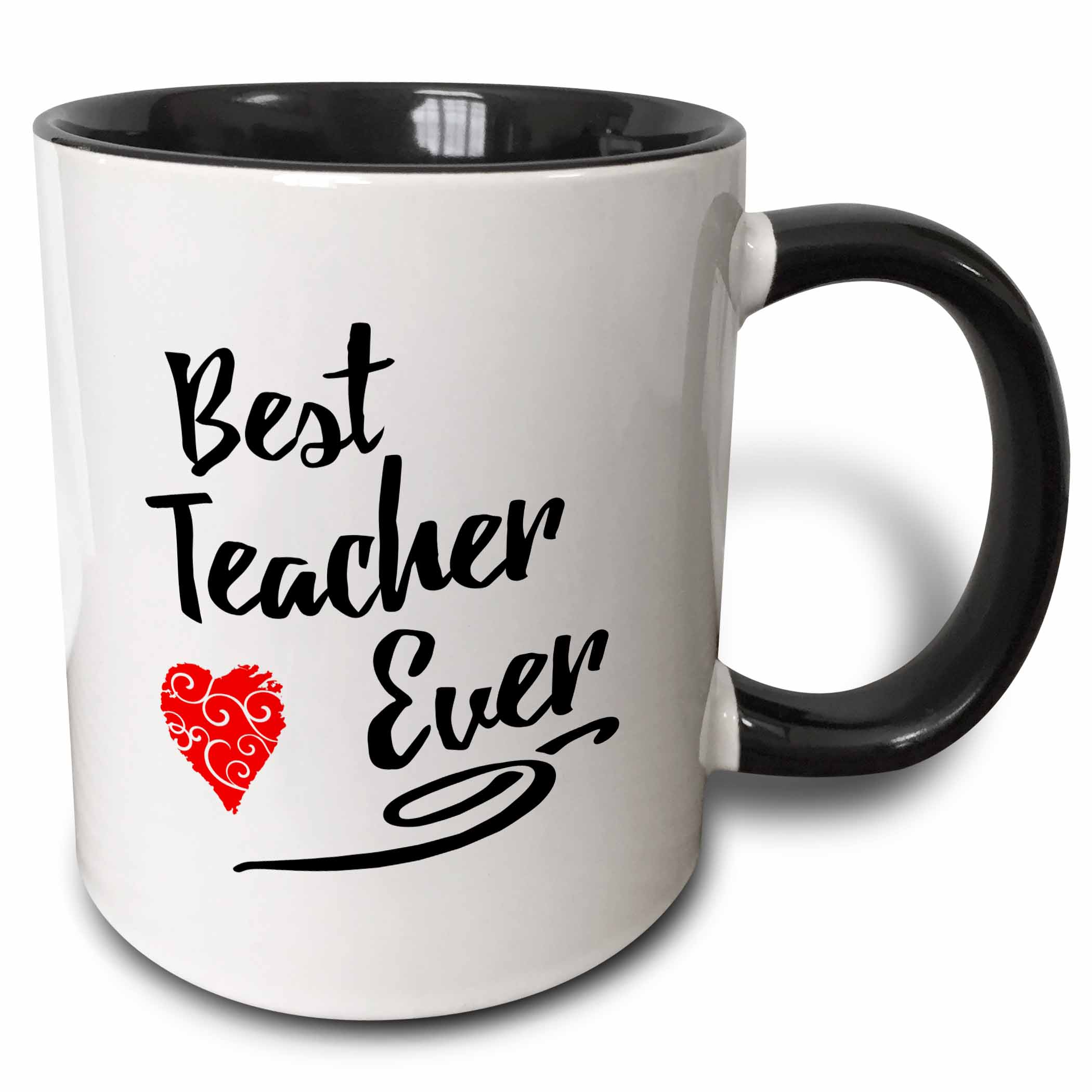 3dRose Typographic Design- Best Teacher Ever in Black with Red Swirly Heart - Two Tone Black Mug, 11-ounce