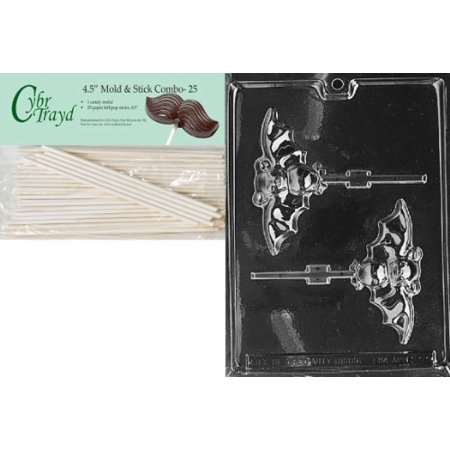 Cybrtrayd 45st25 H021 Bat Lolly Chocolate Candy Mold With 25 4 5 Inch Lollipop Sticks