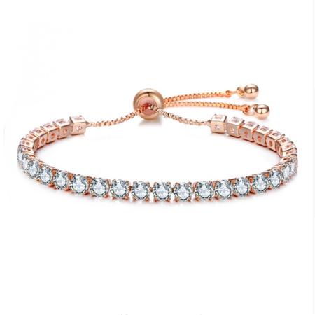 ON SALE - Luxurious Lariat Adjustable Swiss CZ Tennis Bracelet Rose Gold