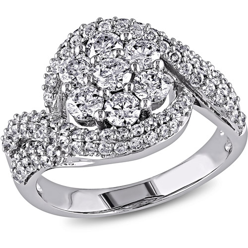 Miabella 2 Carat T.W Diamond 14kt White Gold Bypass Ring