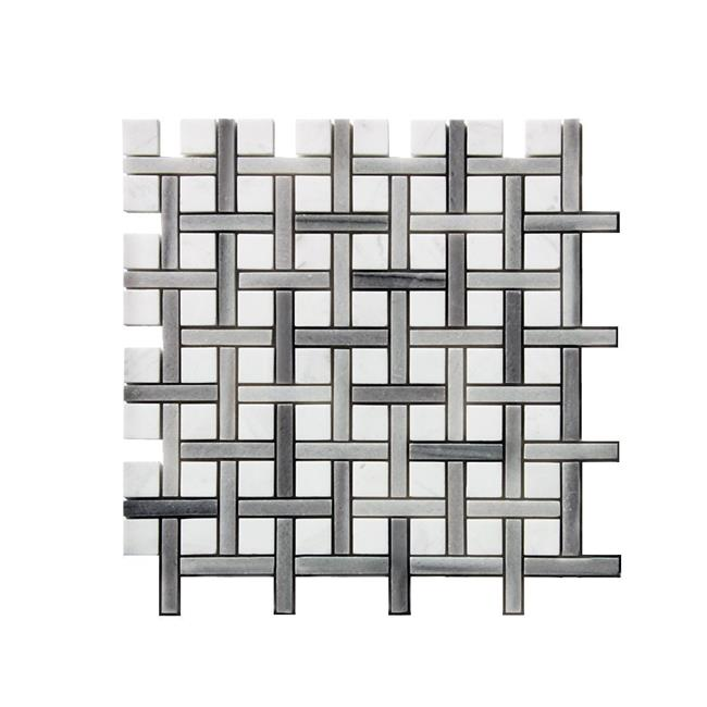 Legion Furniture MS-STONE16 0.38 x 1.38 in. Stone Mosaic Mix Wall Tile, White