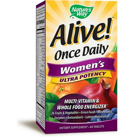 Natures Way Alive  Once Daily Womens Ultra Potency Multivitamin   Whole Food Energizer Tablets 60 Ea