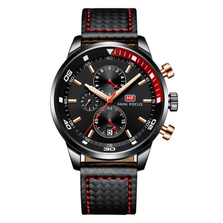 Mens Quartz Watch Black Face Leather Band 3 Multifunction Dials Show Date for Friends Lovers Best Holiday Gift
