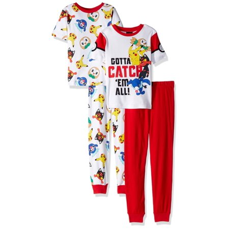 Pokemon Characters Little Boys' Pikachu 4-Piece Cotton Pajama Set, Catch'Em All, Size: 10](Mens Character Pajamas)