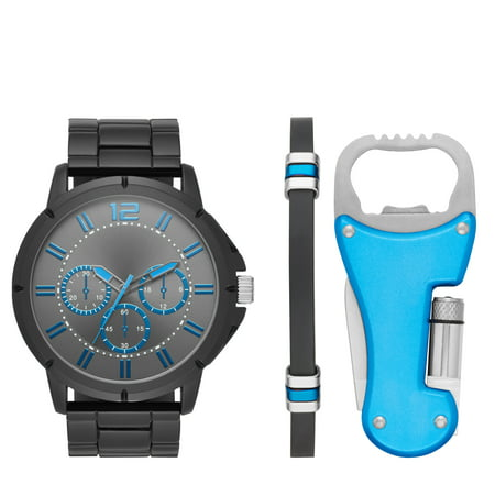 Men's Gun Metal Watch Gift Set with Multi-Tool