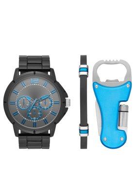 Men's Gun Metal Watch Gift Set with Multi-Tool