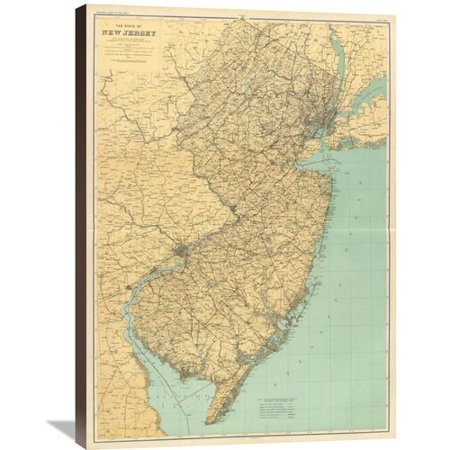 Global Gallery New Jersey State Map 1888 Graphic Art On Wrapped