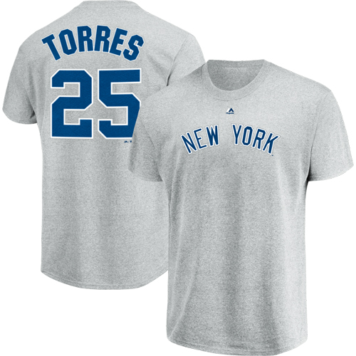 Gleyber Torres New York Yankees Majestic Official Name & Number T-Shirt - Gray