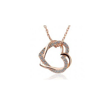 Double Heart Necklace Crystal Rhinestone Chain Pendant - Golden Designer Crystal Double Heart
