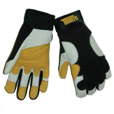 Tillman Large Black, Gold And Pearl TrueFit Full Finger Top Grain Goatskin Super Premium Mechanics Gloves With Elastic Cuff, Nylon Spandex Back, Goatskin Double Palm And Thumb, Reinforced (Double Cuff Gloves)