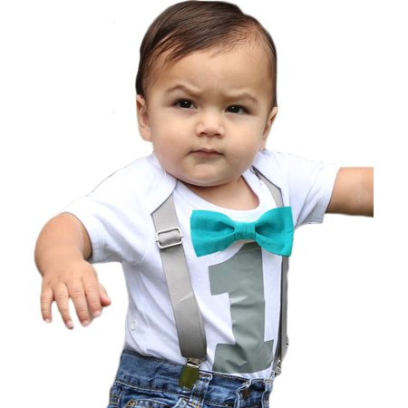 First Birthday Outfit Boy Gray And Teal Bow Tie Suspenders Number One Cake Smash Winter Theme Noahs Boytique 6 12 Months