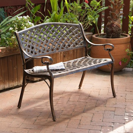 - Cast Aluminum Antique Copper Arched Back Bench