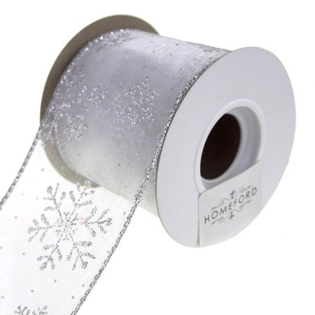Sheer Wired Organza with Glitter Snowflake Holiday Ribbon, Silver, 2-1/2-Inch, 10 Yards