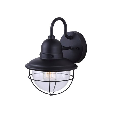 Outdoor Sconce Finish - Exterior Outdoor Cage Light Vintage Bulb Fixture Sconce, Black Finish