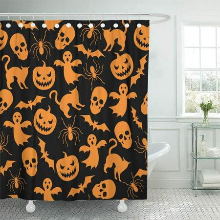 PKNMT Orange Haloween Halloween with Ghost and Pumpkin Black Pattern Helloween Cat Spider Waterproof Bathroom Shower Curtains Set 66x72 inch](Helloween Halloween Mp3)