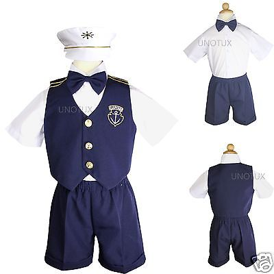 Baby Boy Toddler Wedding Formal Party Captain Navy Blue Sailor Suits Outfits 1-7