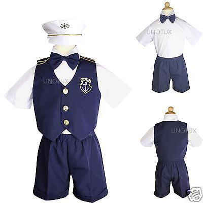 Infant Boy & Toddler Nautical  Sailor Formal Vest suit outfits sz: 0M-3T  Navy](Mens Sailor Outfit)