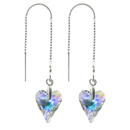 Sterling Silver Thread Swarovski Elements Crystal Aurora Borealis Wild Heart Dangle Earrings