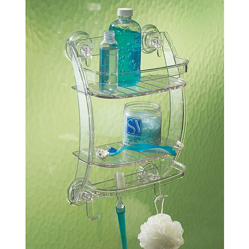 InterDesign Power Lock Suction Shower Organizer, Clear