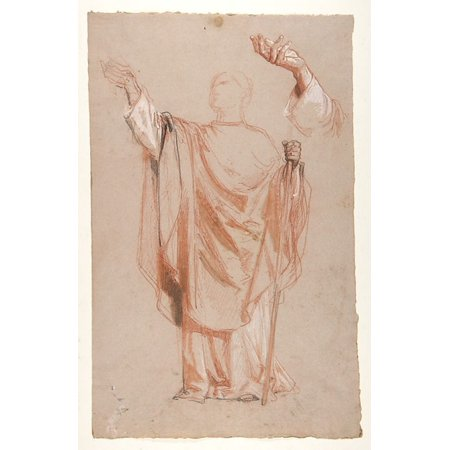 Study for Saint Remi (middle register) verso Study for Remis Raised Arm (studies for wall paintings in the Chapel of Saint Remi Sainte-Clotilde Paris 1858) Poster Print by Isidore Pils (French Paris 1 Indi Remi French Wave