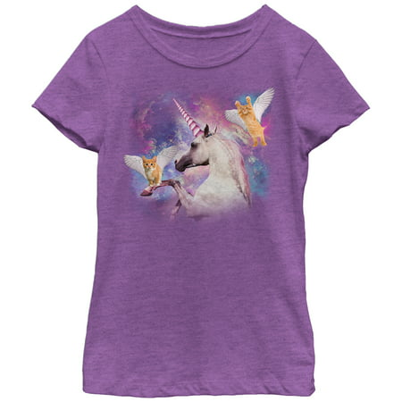 Girls' Unicorn and Flying Cats in Space T-Shirt - Girls In Minecraft