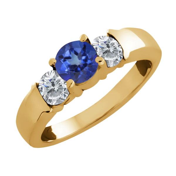 1.10 Ct Round Blue Mystic Topaz and White Diamond 14k Yellow Gold Ring